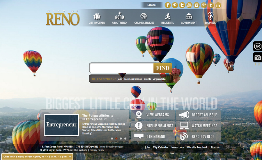 City of Reno Website By Vision Internet
