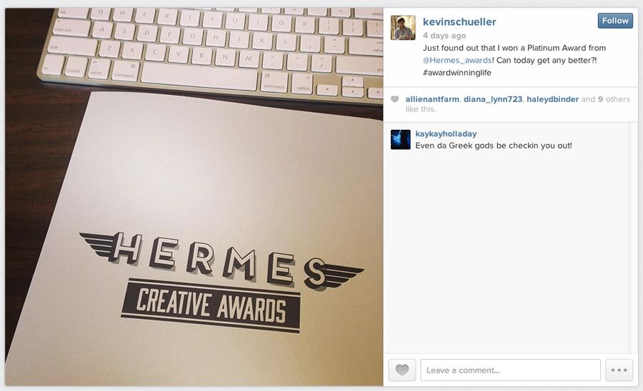 Kevin Schueller Hermes Award Winner